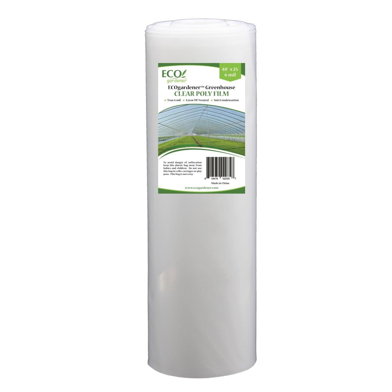 Greenhouse Clear Plastic Film – 25' x 40' 6mil, 4 Year UV Treated, Anti Condensation Heavy Duty Polyethylene by ECOgardener