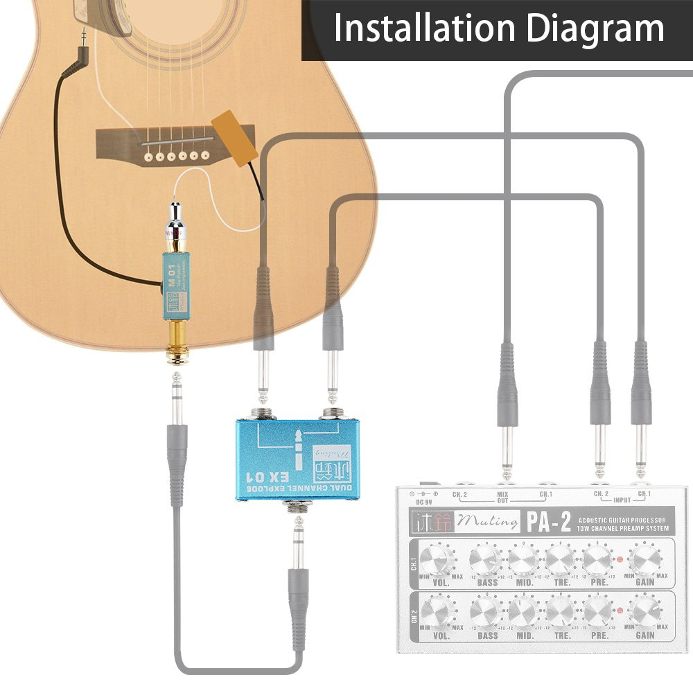 Amazon.com: Muling PA-2 Pro Acoustic Guitar 2 Channel Preamp Mixer System:  Musical Instruments