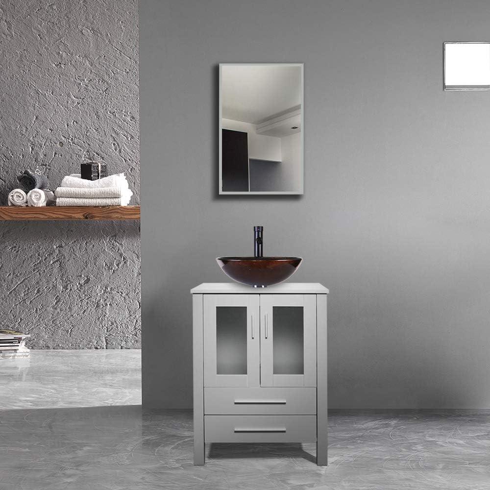 30/% Water Saving Faucet//U-Eway B02GA04 24 Grey Bathroom Vanity,Tempered Glass Vessel Sink Combo,Style Sink,1.5 GPM Faucet Oil Rubbed Bronze,Bathroom Vanity Top with Sink Bowl,20 inch Deep