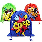 Boy Superhero Drawstring Party Favors Bags (6 Pack), Personalised Birthday Fabric Party Goodie Bag Gift for Kids