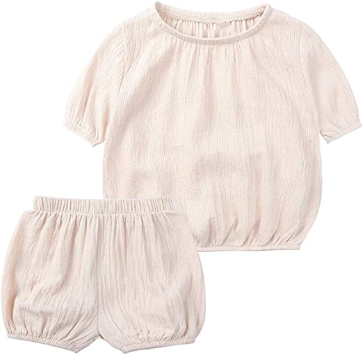 GoodFilling Toddler Baby Girls Solid Basic Plain Ruffle Sleeve T-Shirt Cotton Tee Tank Top