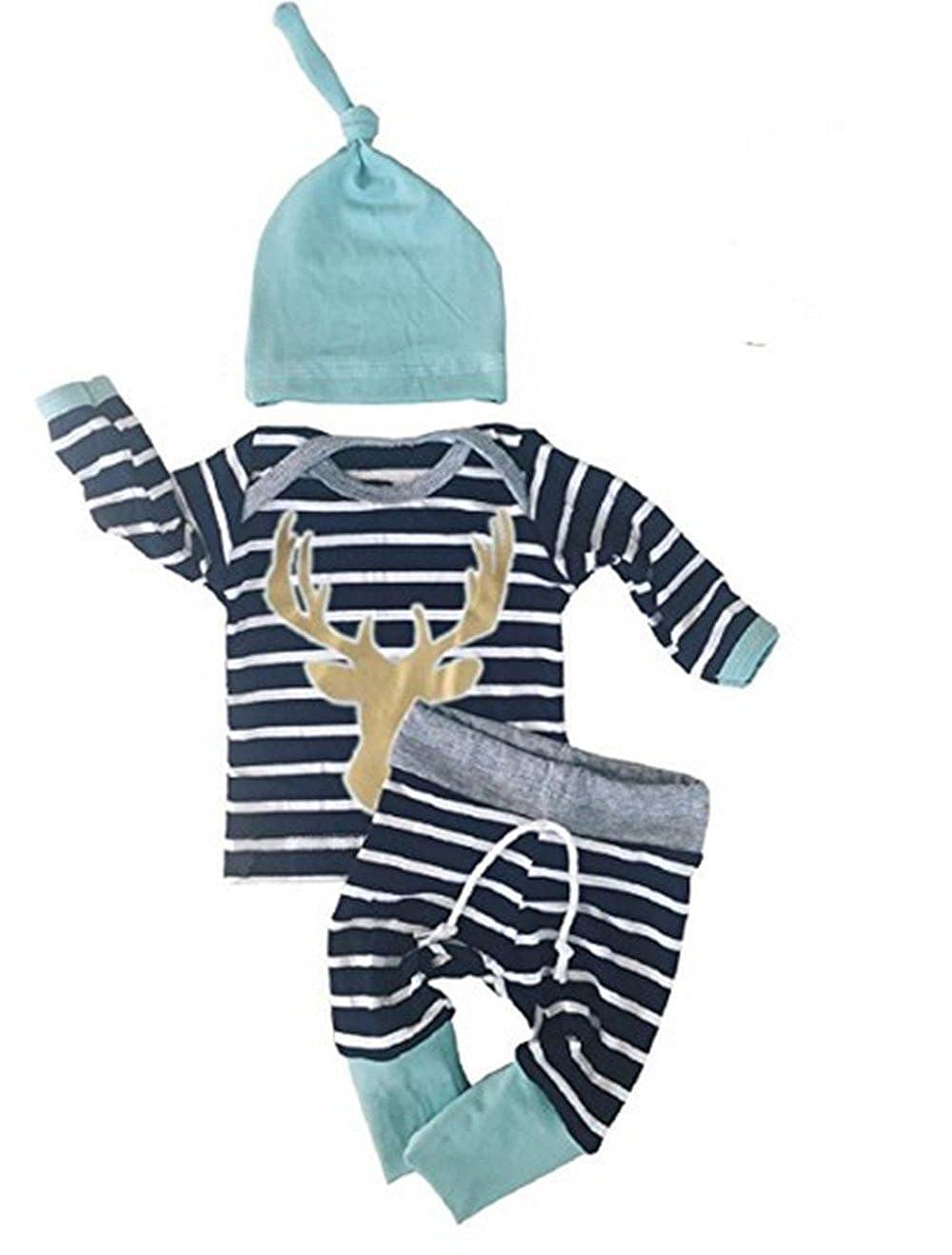 Christmas Le ragazze infantili dei neonati delle ragazze dei neonati 3pcs / Set hanno barrato i cappelli lunghi dei cervi del manicotto dei capretti Rawdah Rawdah-024
