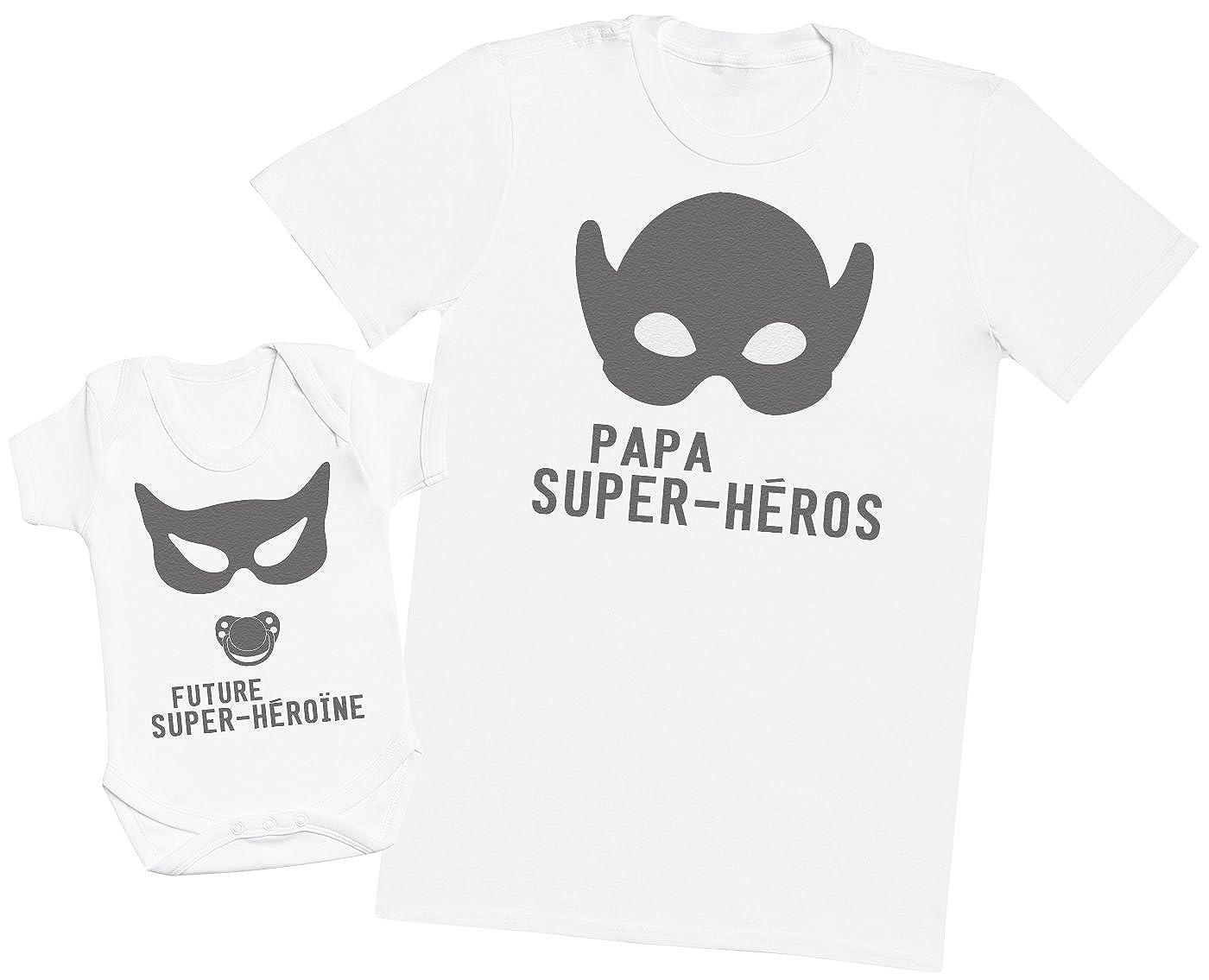 Zarlivia Clothing Future Super-H/éro/ïne Papa Ensemble P/ère B/éb/é Cadeau Hommes T-Shirt /& Body B/éb/é