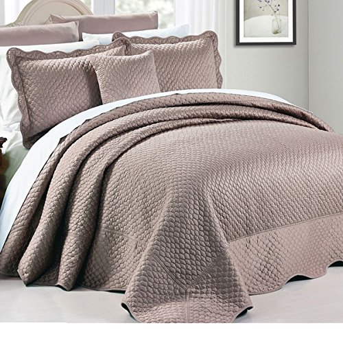 4pc 120 X 120 Taupe Brown Oversized Bedspread King Floor, Polyester, Hangs Over Edge Bedding Drops Side Bed Frame Drapes Large Extra Wide Long French Country Matte Satin Pattern by OSD