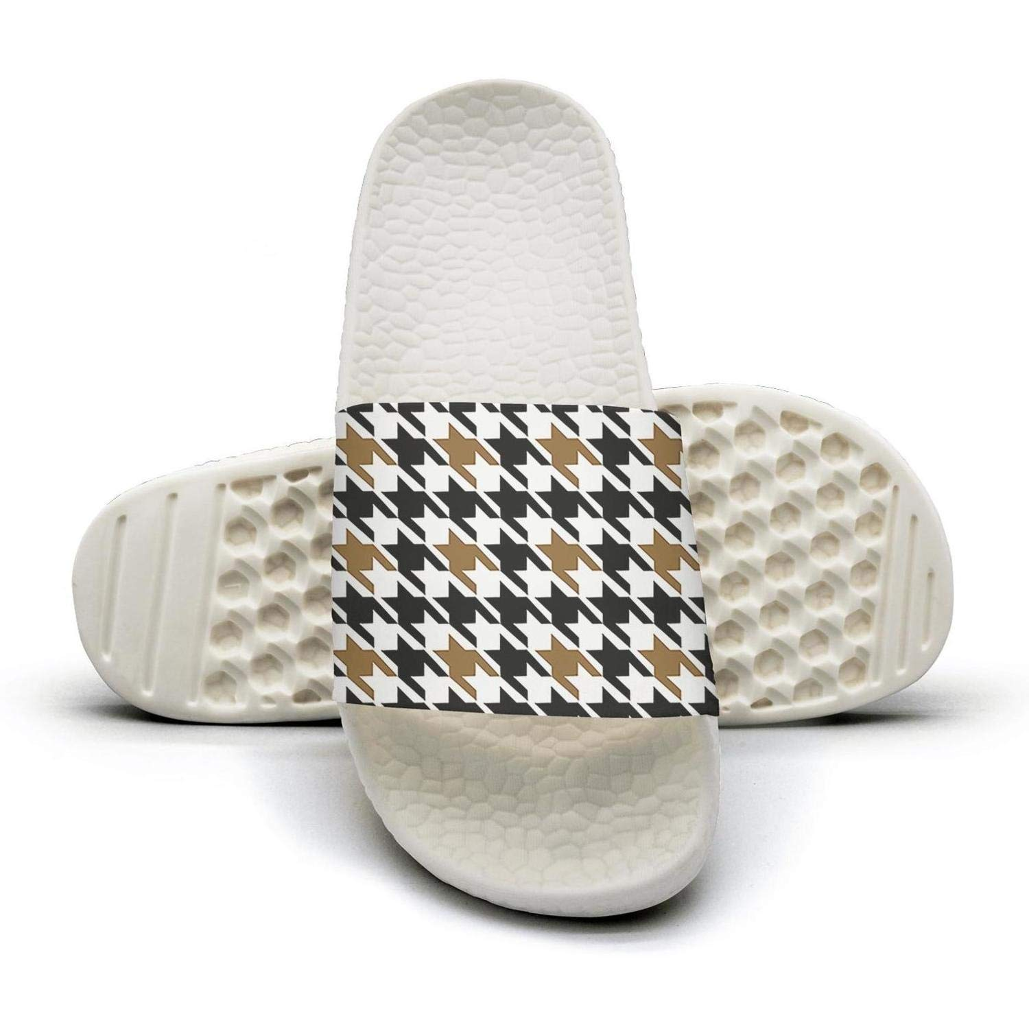 TAKLOOL Black and Beige Houndstooth Checkerboard Water Resistance Super Soft Womens Slides Sandals