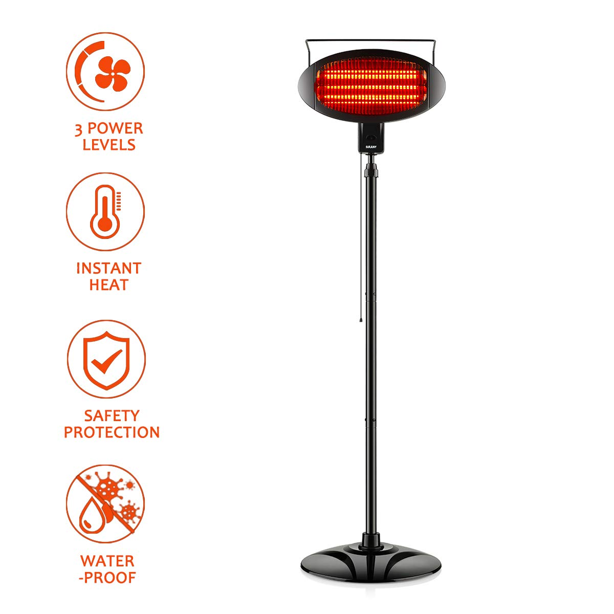 Electric Outdoor Heater, Vertical Halogen Patio Heater with Pull Line Switch, Indoor/Outdoor Heater with 3 Power Levels, Waterproof by SUND