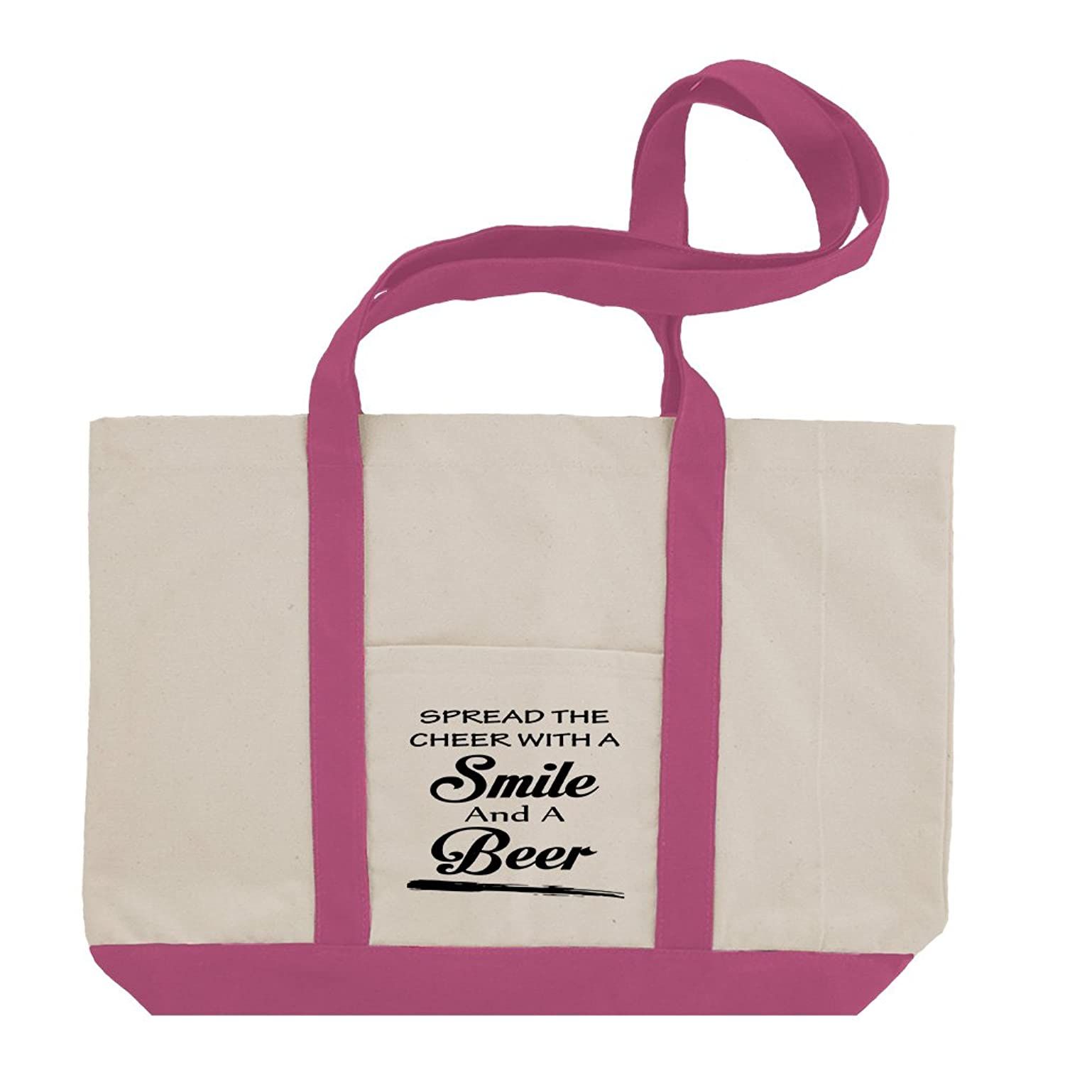 Spread The Cheer With A Smile And A Beer Cotton Canvas Boat Tote Bag Tote