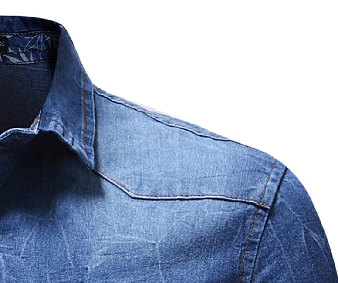 Jofemuho Mens Pockets Washed Button Down Denim Casual Short Sleeve Shirts