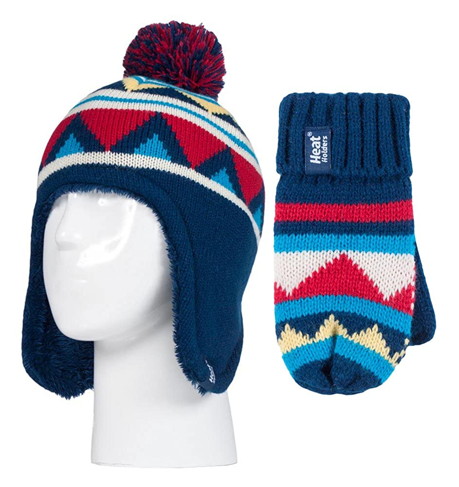 Heat Holders - Boys Thermal Lined Pom Pom Winter Hat and Mittens with Ear Flaps NM1P4)