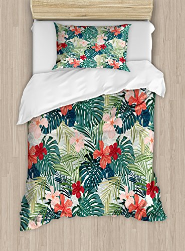 Ambesonne Leaf Duvet Cover Set, Summer Beach Holiday Themed Hibiscus Plumeria Crepe Ginger Flowers, Decorative 2 Piece Bedding Set with 1 Pillow Sham, Twin Size, Pink Red (Bedding Sets Holiday)