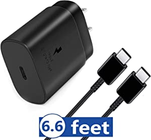 USB C Wall Charger, Fast Charger Compatible Samsung Galaxy Note10 / 10 Plus / S20 / S10 5G, Galaxy S10/ S9/ S8/ Plus, 2018 iPad Pro 11/12.9, 25W PD Power Adapter and Extra Long Cable