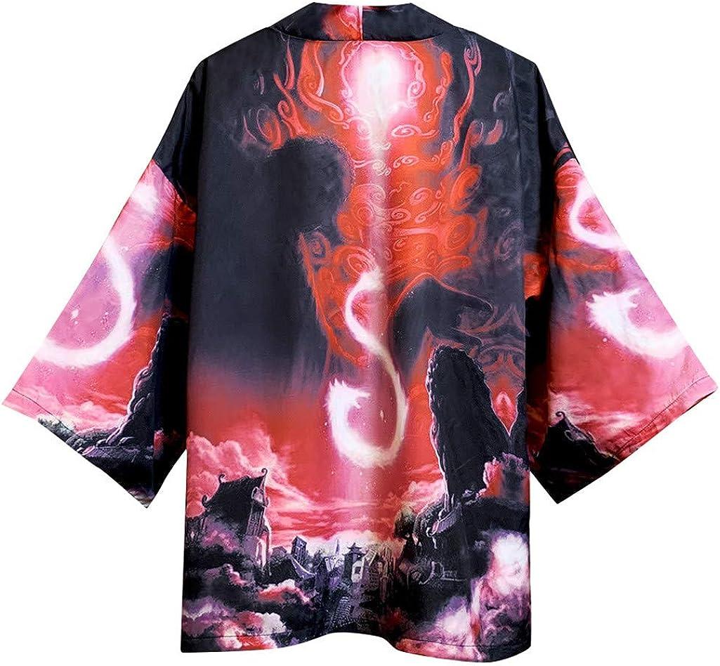 Mens Kimono Cardigan F/_Gotal Mens Kimono Cardigan 3D Fashion Print Casual Lightweight Long Length Cape Jacket and Coat