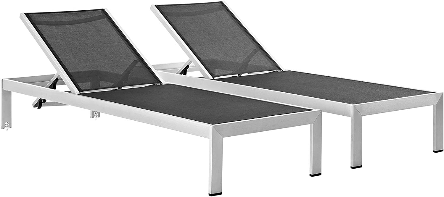Modway Shore Aluminum Textilene Mesh Outdoor Patio Two Poolside Chaise Lounge Chairs in Silver Black