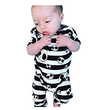 f8d7b08c0 Newborn Baby Boy Girls Romper Bodysuit Halloween Striped Skull Costume  Jumpsuit Outfits (Multicolor, 6M