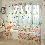 Butterfly Print Voile Sheer Curtain Wall Door Window Balcony Curtain Room Divider