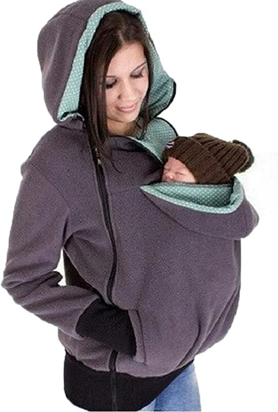 Mom Zipper Sweater Kangaroo Pouch Hooded Sweatshirt for Baby Carriers