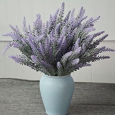 HILINGO 10 Bouquets Artificial Purple Lavender Flower for Home Wedding Party Decor