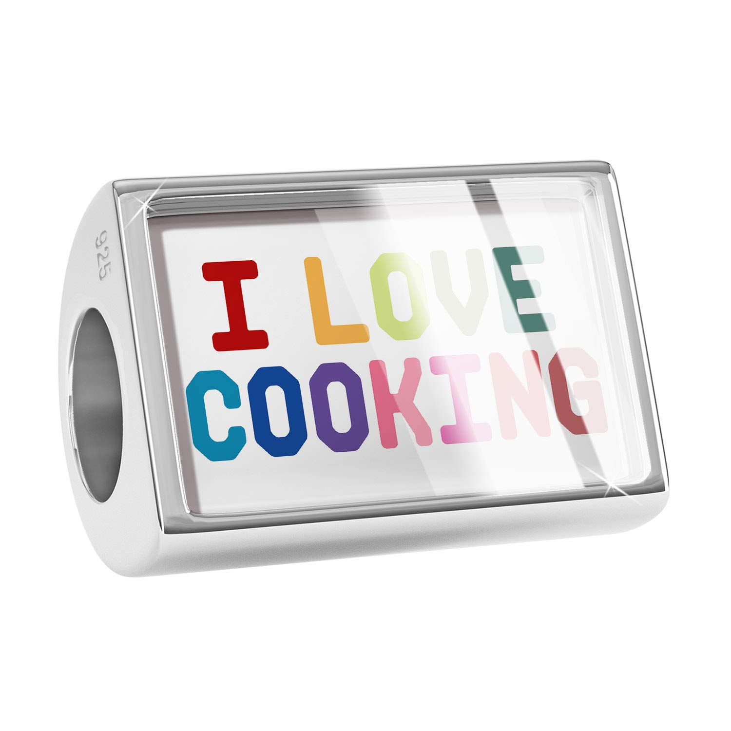NEONBLOND Custom Charm I Love Cooking,Colorful 925 Sterling Silver Bead