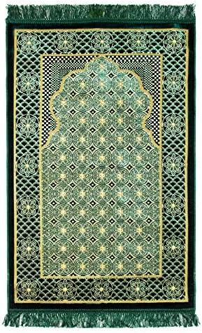 Hijaz Green Lightweight Soft Turkish Prayer Rug Sajada Mat Janamaz Arch Lotus Border