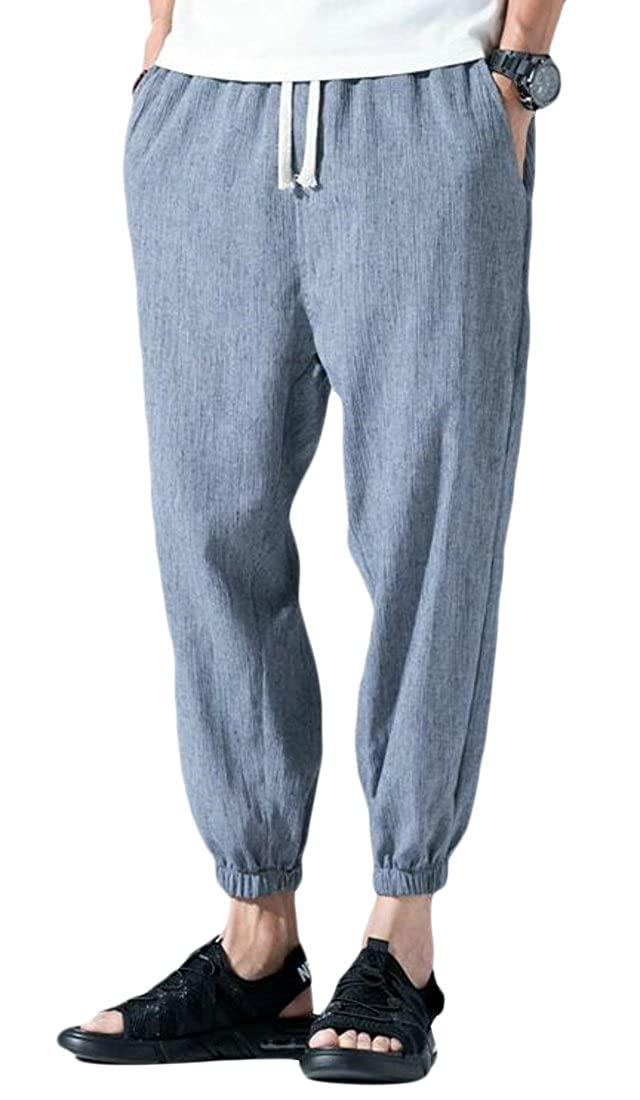 Frieed Men Casual Cotton Linen Closed Bottom Elastic Waist Trouser Solid Pants