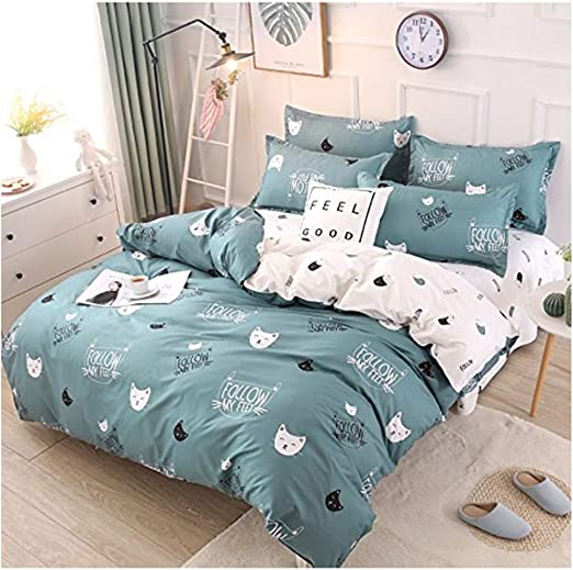Rayhoo Bed Set Twin Sheets Set Cute Cat 3 Piece Bedding Sets One Comforter Cover Two Pillowcase Ultra Soft Microfiber Teen Bedding For Girls Bedroom Without Quilt Cute Cat Green Twin 66 X86 Home