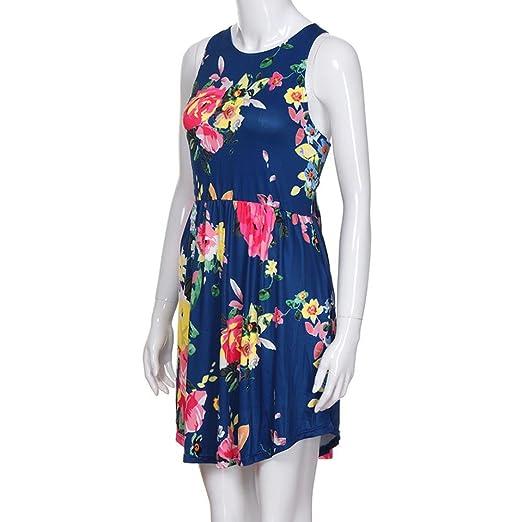 JYC Verano Falda Larga, Vestido De La Camiseta Encaje, Elegante Casual, Vestido Fiesta Mujer Largo Boda, Floral Impresión Redondo Cuello Mini Vestir con ...