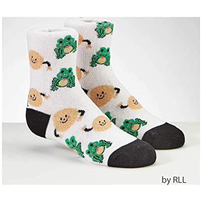 Rite Lite Passover Kids Crew Socks, Frogs and Matzah Balls Design: Toys & Games