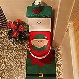 Smartcoco Christmas Happy Genius Toilet Seat Cover and Rug Set Bathroom Decorations Supplies