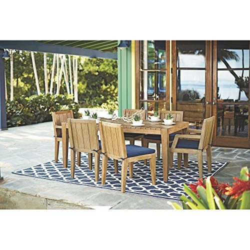 Home Decorators Collection Bermuda 7-Piece All Weather Eucalyptus Wood Patio Dining Set with Indigo Fabric Cushions (Dining Bermuda Set)