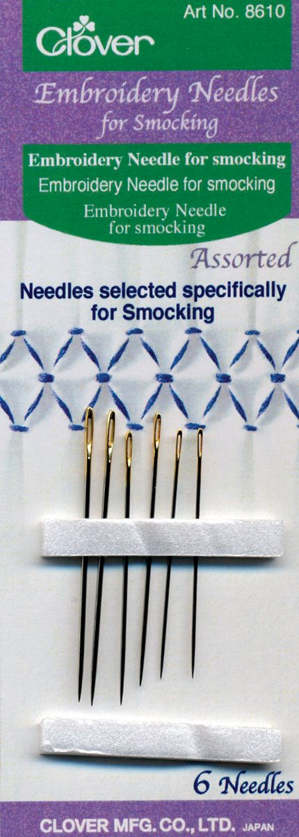Clover Embroidery Needles for Smocking 8610