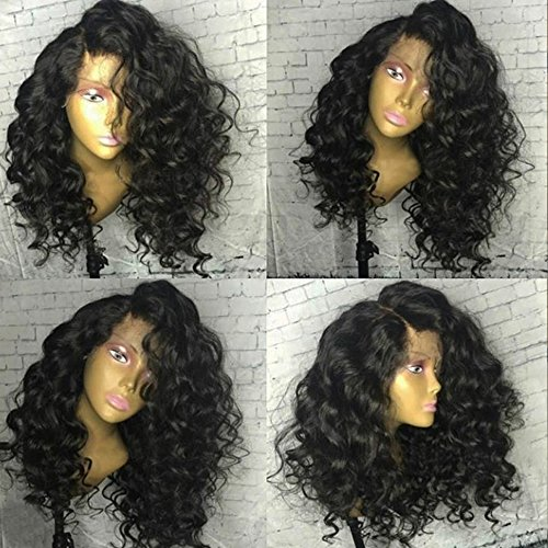 Wicca 180% Density Loose Wave 360 Lace Frontal Wig Brazilian Human Hair 360 Lace Wig for Black Women With Baby Hair Bleached Knots (150% - Side 180 Front