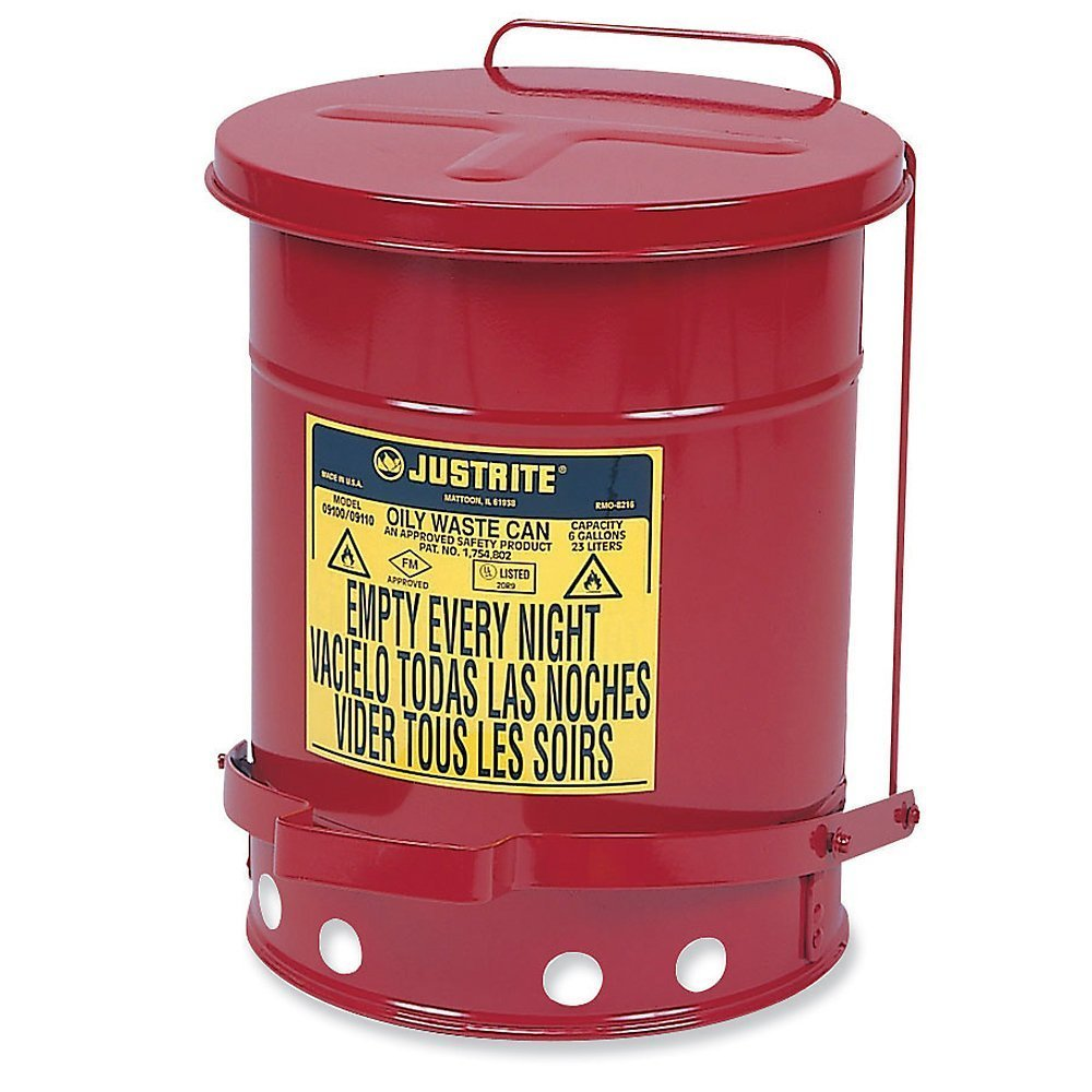Justrite 9300 10 Gallon Red Galvanized Steel Oily Waste Can with Foot Lever Opening Device, Plastic, 17'' x 19'' x 17''