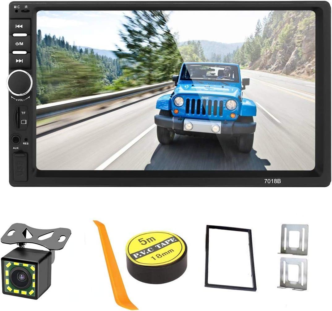 Summdey Pantalla táctil capacitiva para de 7 pulgadas, reproductor MP5 de 2 DIN, multimedia para coche con AUX/USB/SD/tarjeta TF FM + cámara de respaldo de 12 LED + mando a distancia para volante