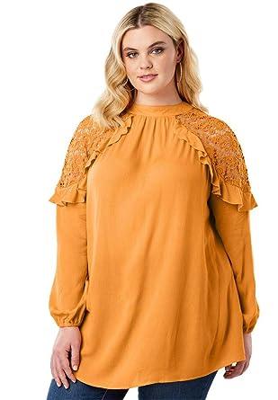 e8bf8b31ff85a Roamans Women s Plus Size Lace-Shoulder Keyhole Tunic - Crystal Honey