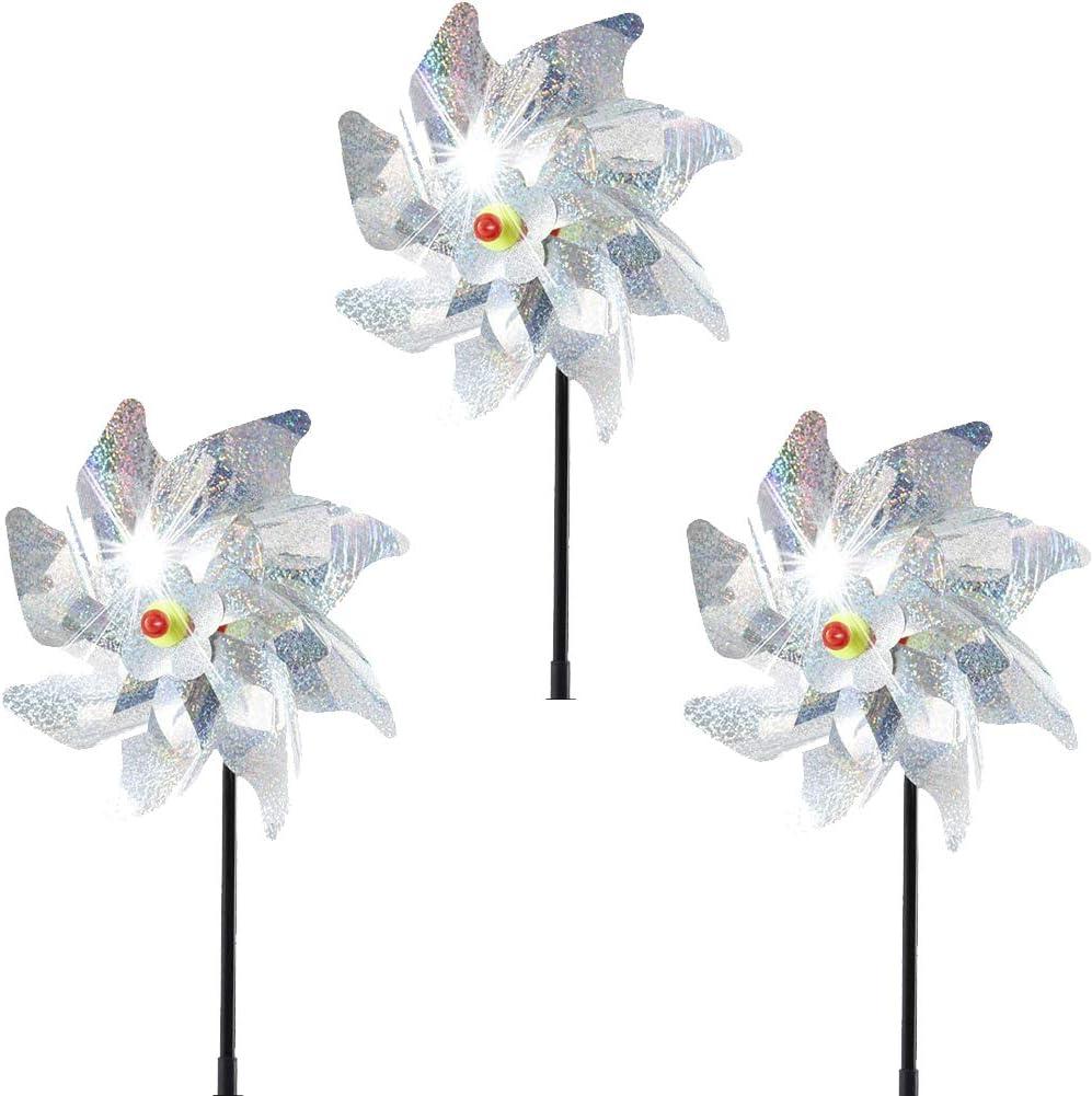 Reyok, 3 piezas de molinillo de viento, protección contra pájaros, molino reflectante antipájaros para proteger el jardín, el jardín de la fruta, el patio y los pájaros
