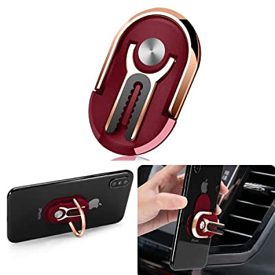 Phone Ring Holder Finger Kickstand, Multipurpose Phone Bracket, Universal Air Vent Car Phone Mount 3 in 1 Mobile Phone Stand 360 Degree Rotation(Red)
