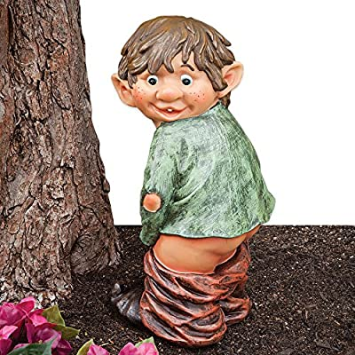 """Bits and Pieces - """"Caught with His Pants Down Garden Elf statue - Naughty Garden Elf Yard art, Funny Gnome or Elf - Polyresin Statue Measures 13-1/2"""" high x 5"""" wide"""