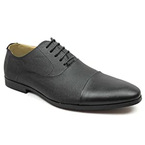 Men's Black Cap Toe Herringbone Dress Shoes Lace up Oxfords By Azar (11 U.S (D) MEDIUM)