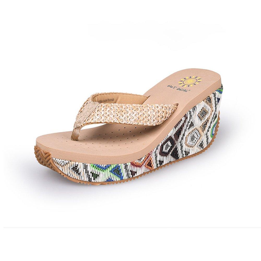 Frau Sommer Sandalen Schuhe Dicke Untere Strand Schuhe Sandalen High Heel rutschfeste Hausschuhe ( Farbe : 1 , größe : EU39/UK6/CN39 ) 1 8c06d8