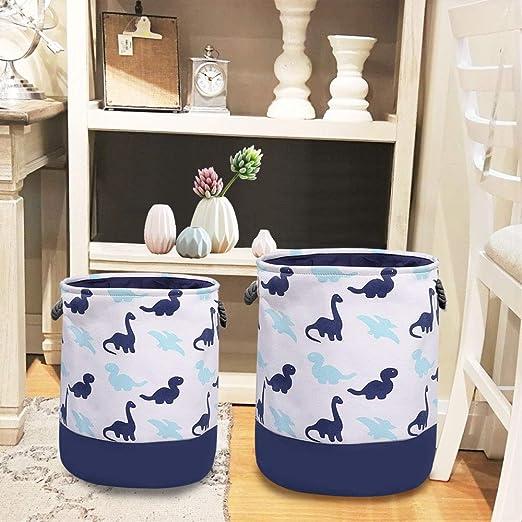 perfecta para el almacenamiento dom/éstico Gran canasta de almacenamiento de lona con un encantador dinosaurio juguetes o lavander/ía. canasta de tela de 2 piezas con asas de cuerda