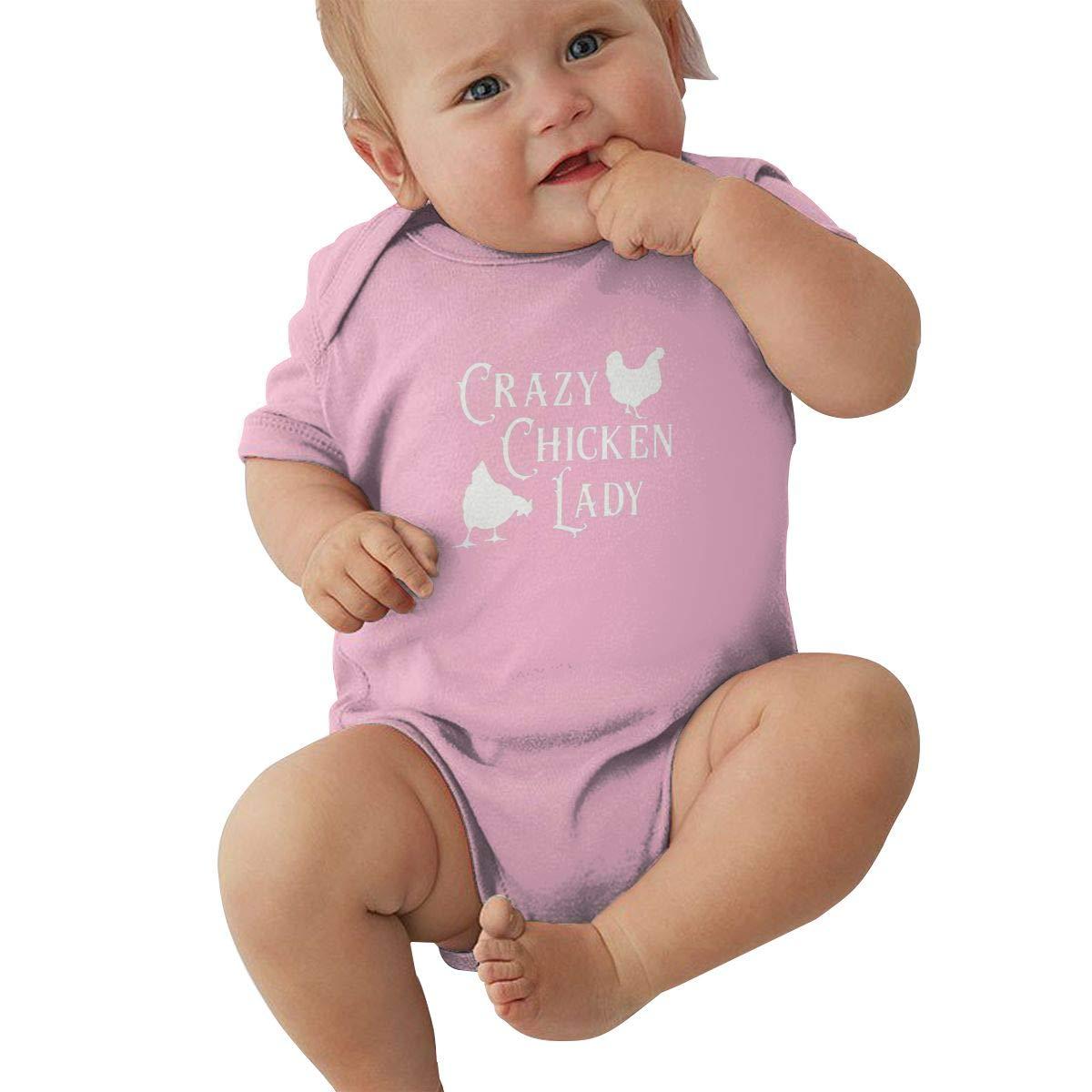 Dfenere Crazy Chicken Lady Retro Newborn Baby Short Sleeve Bodysuit Romper Infant Summer Clothing Black