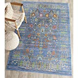 Safavieh VAL108M-9 Valencia Collection Blue and Multi Polyester Area Rug, 9-Feet by 12-Feet