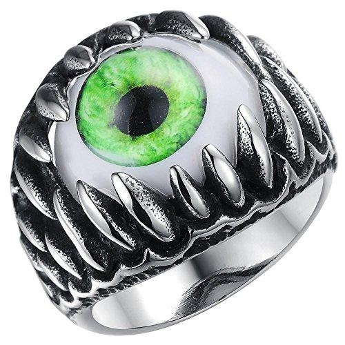 Men's Stainless Steel Gothic Skull Dragon Claw Evil Devil Eye Biker Ring vintage Silver green White Size 8