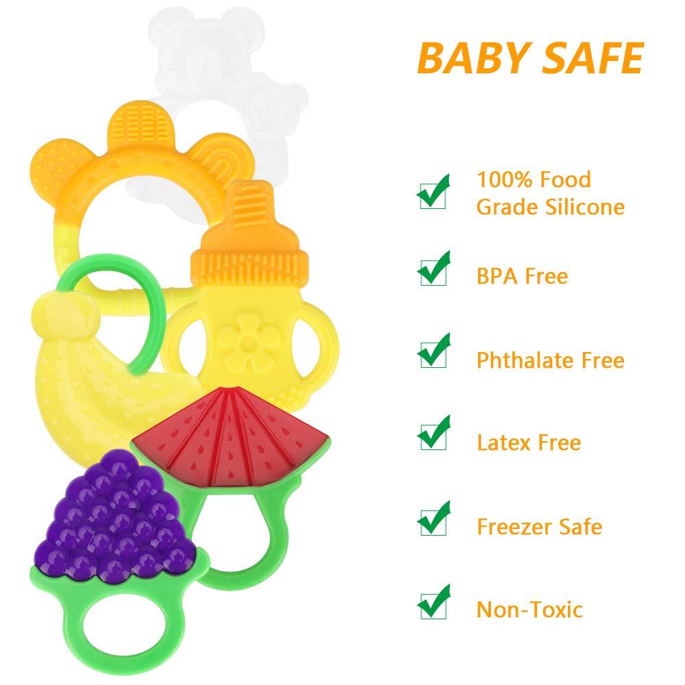 Nat/ürlicher K/ühlbei/ßring yidenguk Baby Zahnen Bei/ßringe 6 St/ück Obst Silikon-Zehne f/ür Kleinkind Jungen M/ädchen BPA-freie Zahnen Set