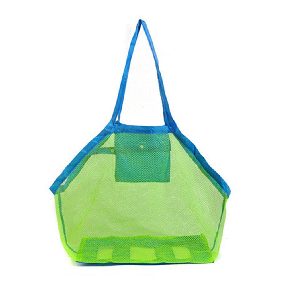 Haodou - Borsa a rete per attrezzi e giocattoli da spiaggia, pieghevole, per bambini, estate, viaggi, attività all'aperto, attività sportive, blu