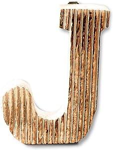 Kaizen Casa Hand Carved Wooden Alphabet Wall Décor/Free Standing J Letter