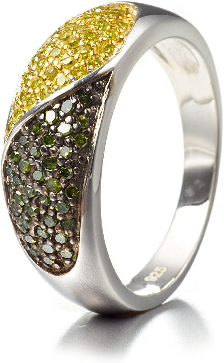 Silvancé - Anillo de mujer - plata esterlina 925 bañada en rodio - auténtico piedras preciosas: Green Diamond ca. 0.37ct. - R5540GDYD