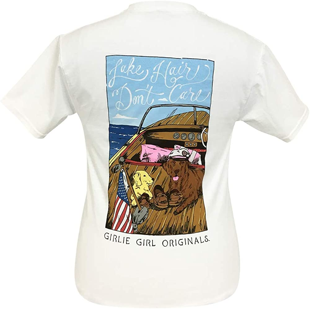 Girlie Girl Lake Hair Don't Care Pups Preppy Short Sleeve T-Shirt Adult