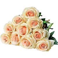 Justoyou - Rosa finta con stelo, singola, bocciolo in seta, per bouquet da sposa o decorazioni