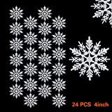 Snowflake SOMAN Christmas 4-Inch Ornaments Plastic Christmas Tree Hanging Decorations 24 Pcs(White)